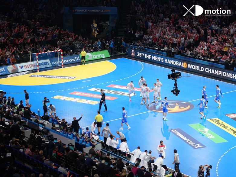 x fly 2d cablecam world handball championship at Paris Bercy Arena